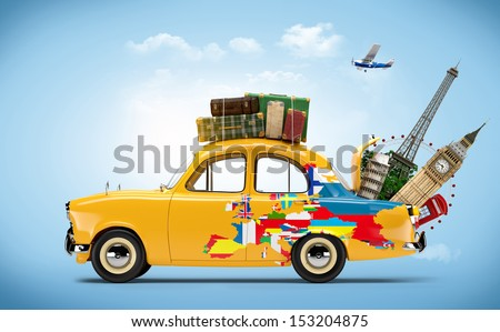 Traveling by car. Famous monuments of Europe. Unusual. - stock photo