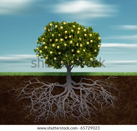 Tree with golden apple - this is a 3d render illustration - stock photo