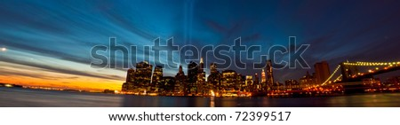 9/11 Tribute in Light. 9/11/10. Panorama of Manhattan at Sunset. New York City. - stock photo