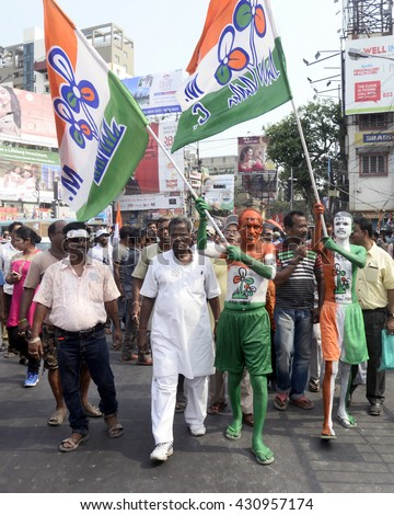 Trinamool Congress Activist Painted Their Body Stock Photo Safe To