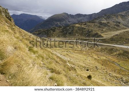 Tristaina high mountain lakes in Pyrenees. Andorra - stock photo