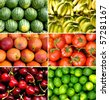 tropical fruit collage of nine photos - stock photo