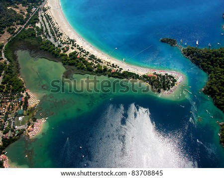Tropical island - aerial view - stock photo