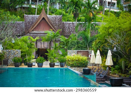 Tropical resort in Thailand - travel and tourism image. - stock photo