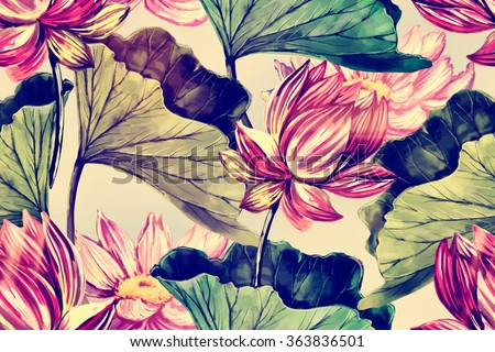 Tropical watercolor flowers, leaves, pink lotus, seamless floral pattern background - stock photo
