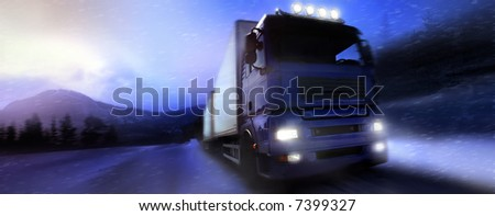 truck driving on country-road/photographic-retouching - stock photo