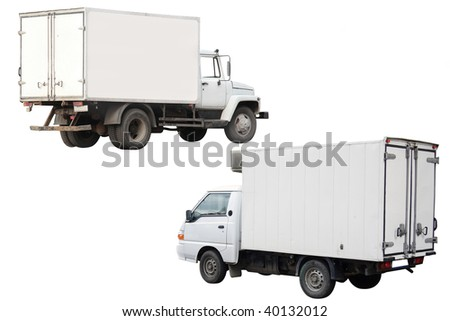 Trucks under the white background - stock photo