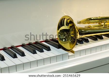 trumpet lying on the piano keys - stock photo
