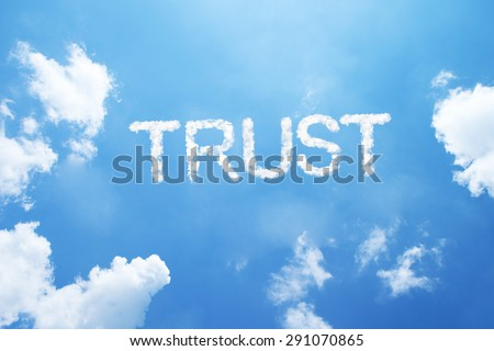 """Trust"" cloud word on sky. - stock photo"