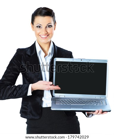 ��ttractive woman with laptop in hands smiling, isolated in white background. - stock photo