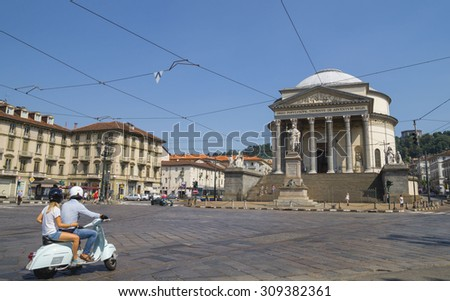 Turin, Italy, Europe - JUNE 28, 2015 . Street traffic in Turin, Italy. The Gran Madre di Dio Church in Turin. - stock photo