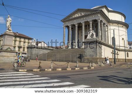 Turin, Italy, Europe - JUNE 28, 2015 . The Gran Madre di Dio Church in Turin.. - stock photo
