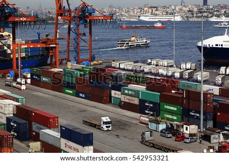 Turkey - April 16 ,2014 :Large container ship in a dock at port, Haydarpasa, Istanbul, Turkey