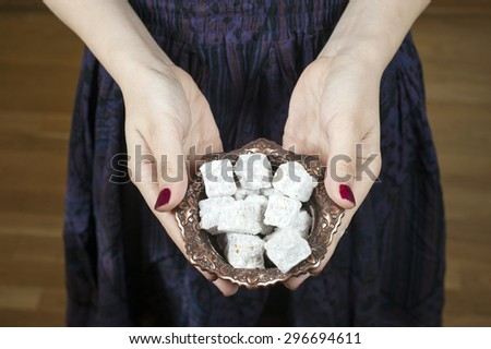 Turkish delight in young girl hand