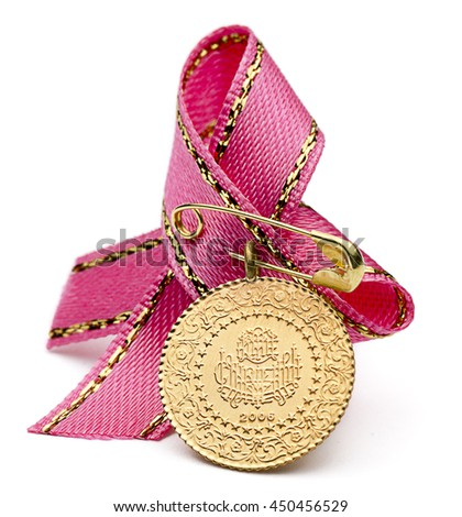 1/4 Turkish gold coin with pink ribbon isolated on white background.  - stock photo
