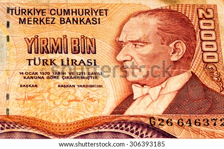 20000 Turkish liras bank note. Turkish lira is the national currency of Turkey