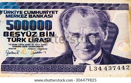 500000 Turkish liras bank note. Turkish lira is the national currency of Turkey