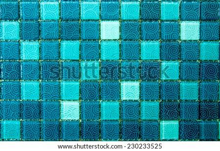 turquoise mosaic tile   - stock photo