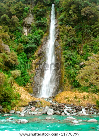 Turquoise  Waterfall - stock photo