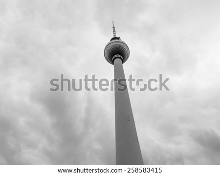 TV Fernsehturm Television tower in Berlin Germany in black and white - stock photo