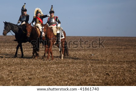 TVAROZNA, CZECH REPUBLIC - NOV 27: History fans in military costumes reenact the battle of Austerlitz, which Napoleon won in 1805, on November 28, 2009 near the village of Tvarozna, Czech Repuplic.