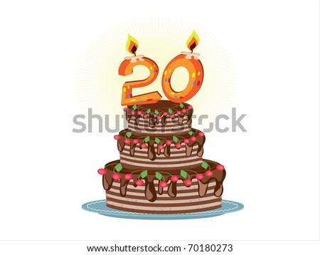 """twentieth anniversary"",birthday pie - stock photo"