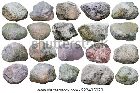 Twenty big granite stones and  boulders of various forms and colors  set. Isolated on white collage from many  outdoor photos