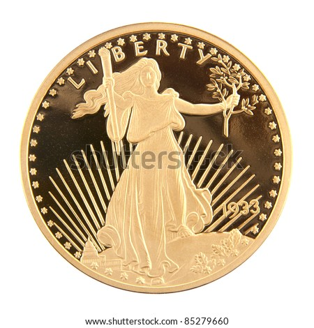 1933 Twenty Dollar Gold Double Eagle coin minted by the United States of America, designed by Augustus Saint-Gaudens. This is a copy of the actual coin. - stock photo