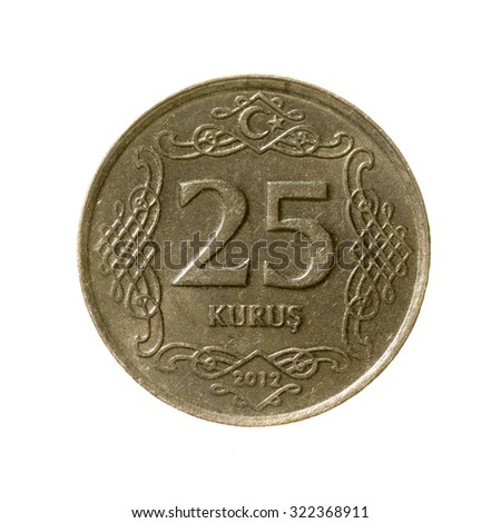 Twenty-five coin kurush Turkey fone.vid isolated on a white   background. top view.revers