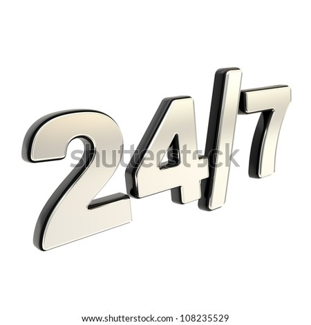 24/7 twenty four hour seven days a week glossy chrome metal and black plastic emblem icon isolated on white background - stock photo