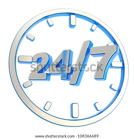 24/7 twenty four hour seven days a week glossy chrome metal and blue plastic round emblem icon isolated on white background - stock photo