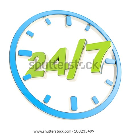 24/7 twenty four hour seven days a week glossy green and blue round emblem icon isolated on white background - stock photo