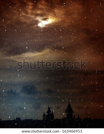 Twilight. Mysterious Scenic Landscape with Spooky Cloudy Moon - stock photo