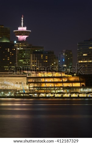 Twilight Towers, Vancouver. Downtown Vancouver and the convention center at twilight. Vancouver, British Columbia, Canada.  - stock photo