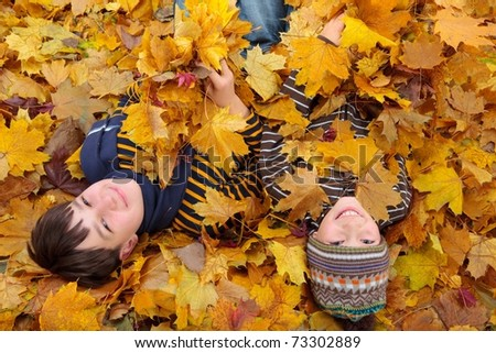 Two boys in a pile of leaves. - stock photo