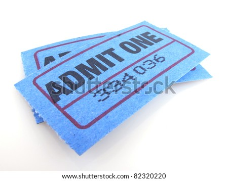 "Two bright blue ""admit one"" tickets isolated on white - stock photo"