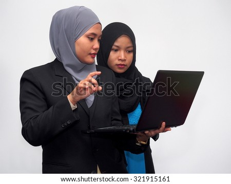 Two business associates in a discussion. - stock photo