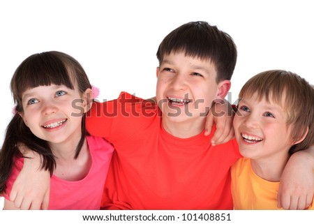 Two Caucasian young boys and a girl, siblings.