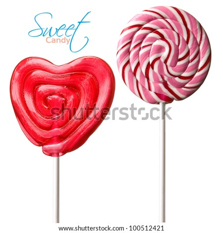two Colourful lollipop isolated on the white background - stock photo
