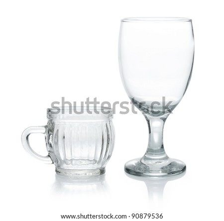 two empty glasses isolated on white background - stock photo