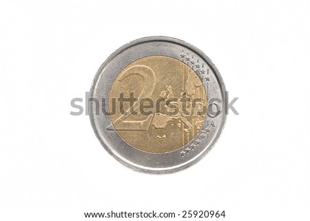 2 (two) euro single coin isolated on white