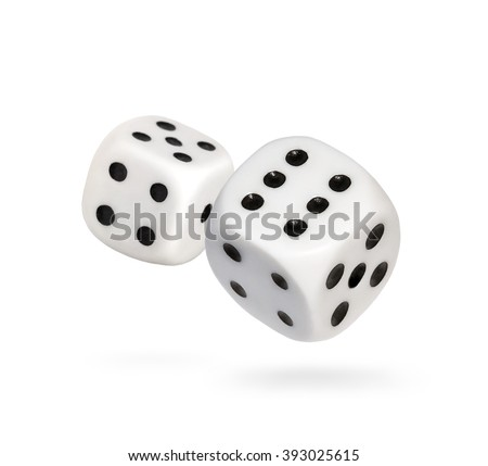 Two falling dice, isolated on White    - stock photo