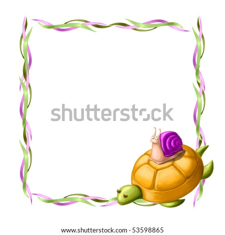 two  friends, turtle and snail - stock photo