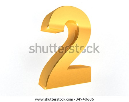 2 - two Gold Number on white background - 3d image - stock photo