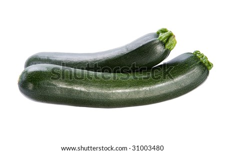Two green squash or zucchini on white background