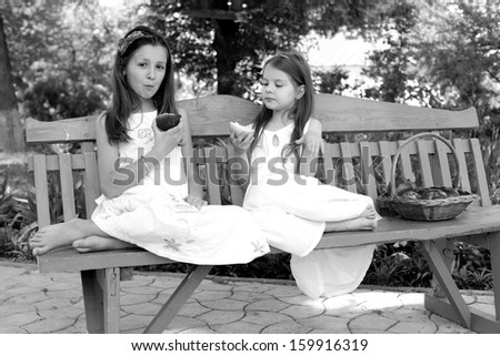 two little girls sitting on a bench with basket of red organic apples/Lovely girls with basket of red apples on a bench
