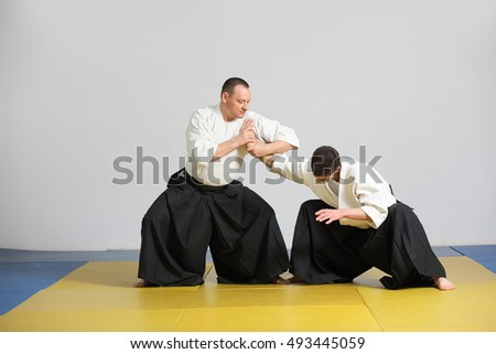 two men demonstrate the techniques of Aikido.