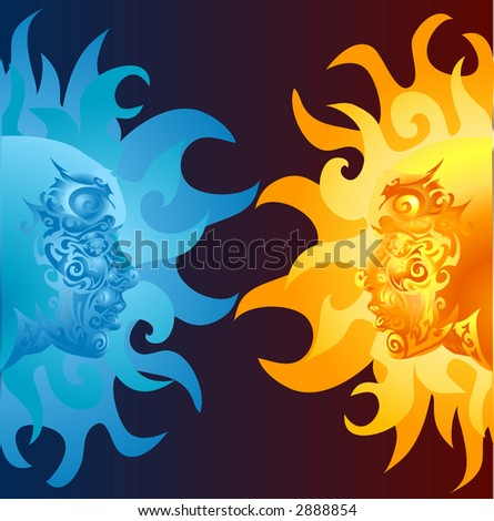 two opposing faces one blue and one yellow/ orange. Raster version