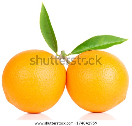 Two orange  fruits with green leaves isolated on white.