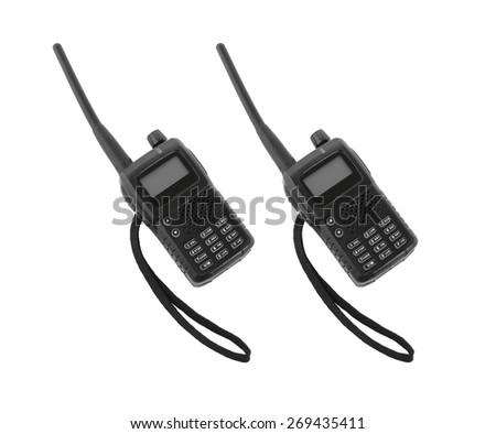 two portable radios on a white background - stock photo